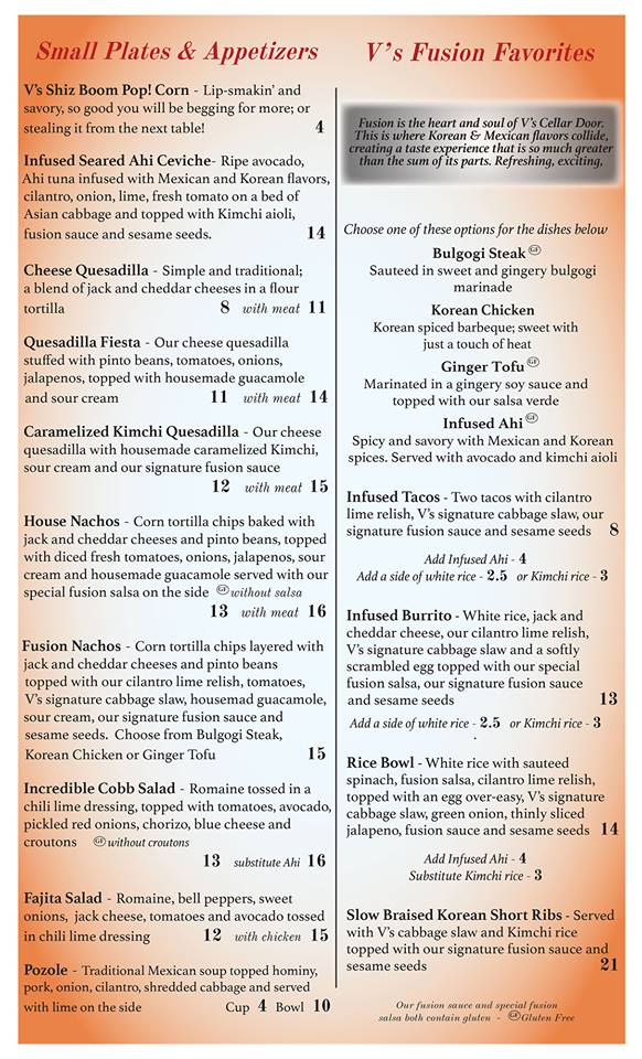 Appetizers and Fusion Food Menu for V's Cellar Door in Juneau